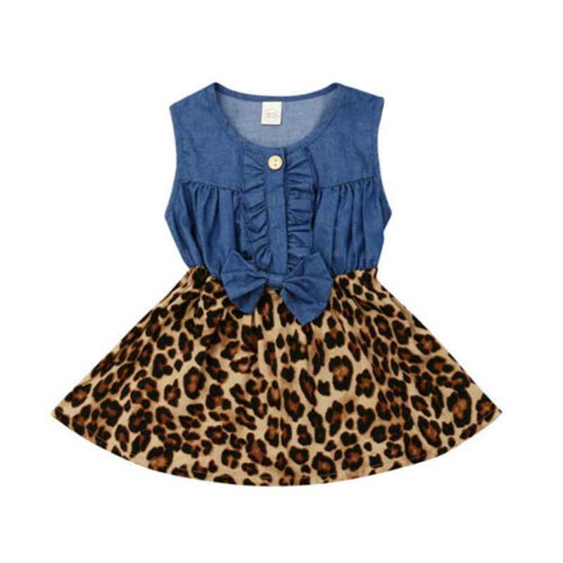 Toddler Baby Kids Girls Denim Princess Leopard Sundress Party Dress ClothesToddler Baby Kids Girls Denim Princess Leopard Sundress Party Dress Clothes