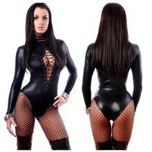 Bodysuit Exotic Sexy Lingere Black Patent Leather Leotard Faux Latex Catsuit Women Clubwear Jumpsuits