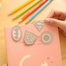 Creative Novelty American Super Heroes Book Markers Metal Batman Bookmark For Books Paper Clips Promotional Gift Stationery SQ02