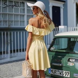 Image 3 - Simplee Vestido corto de volantes para mujer, vestido informal de algodón con botones, sin espalda y en amarillo para verano