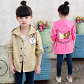 Children's clothing child trench outerwear baby girl spring and autumn medium-long cotton top cartoon print kids cardigan jacket