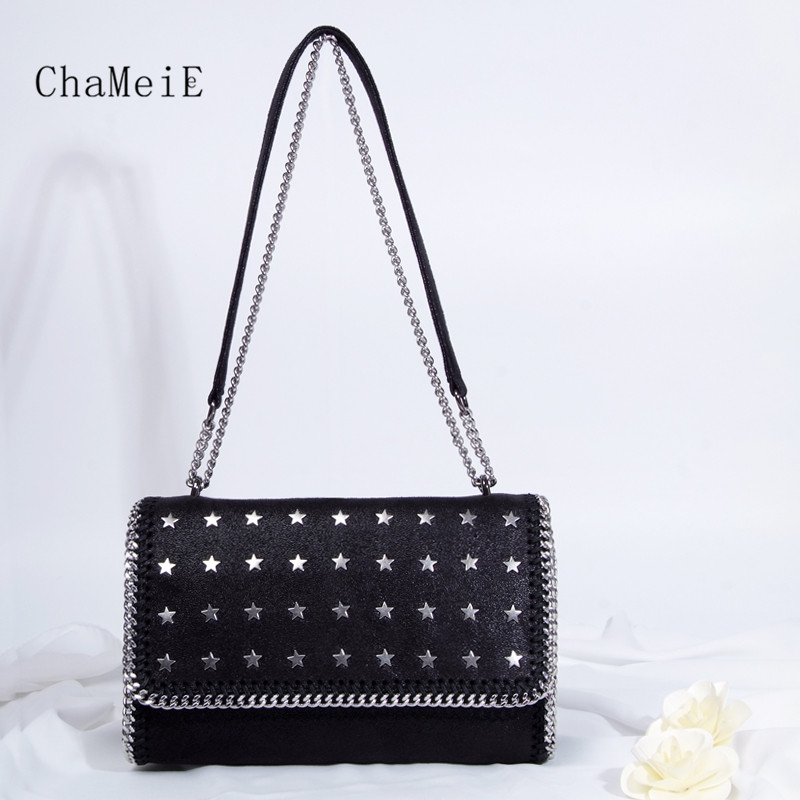 Women Luxury Handbag PVC Star Rivet Crossbody Bag Fashion  Chain Messenger Bag Famous Brand Shoulder Bag Fold Over Cover Totes  new arrival fashion color rivet metal decoration female totes shoulder bag handbag women s crossbody messenger bag 2 colors