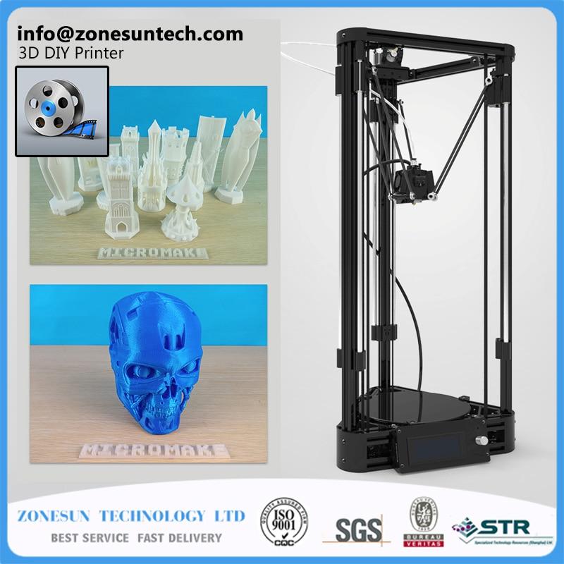 ZONESUN LCD Diy 3d Metal Printer, Large Printing Size 3d-Printer Kossel Delta 3d Printer Kit geeetech mini g2 pro delta 3d printer diy kit