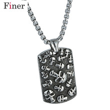 Punk Style Tattoo Long Chain Square Skull Pendant Necklace Stainless Steel Necklace Charm Men Cool Punk Rock Jewelry недорого