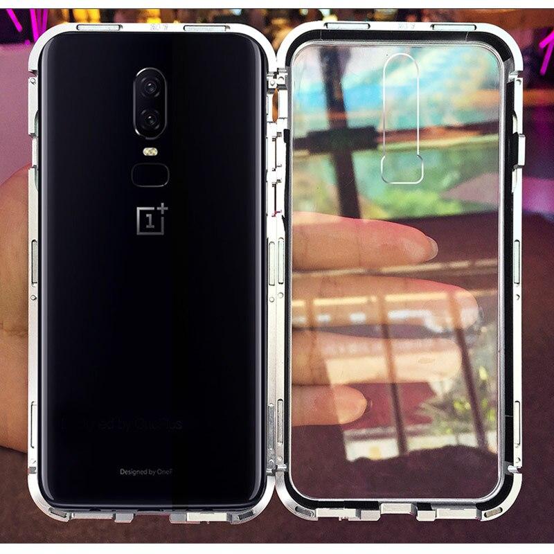 Gehärtetem Glas 2 in 1 Fall Für OnePlus 6 Fall Magnetische Adsorption Fall Metall Bumper Hard Fall Für One Plus 6 1 + 6 Magneto Coque