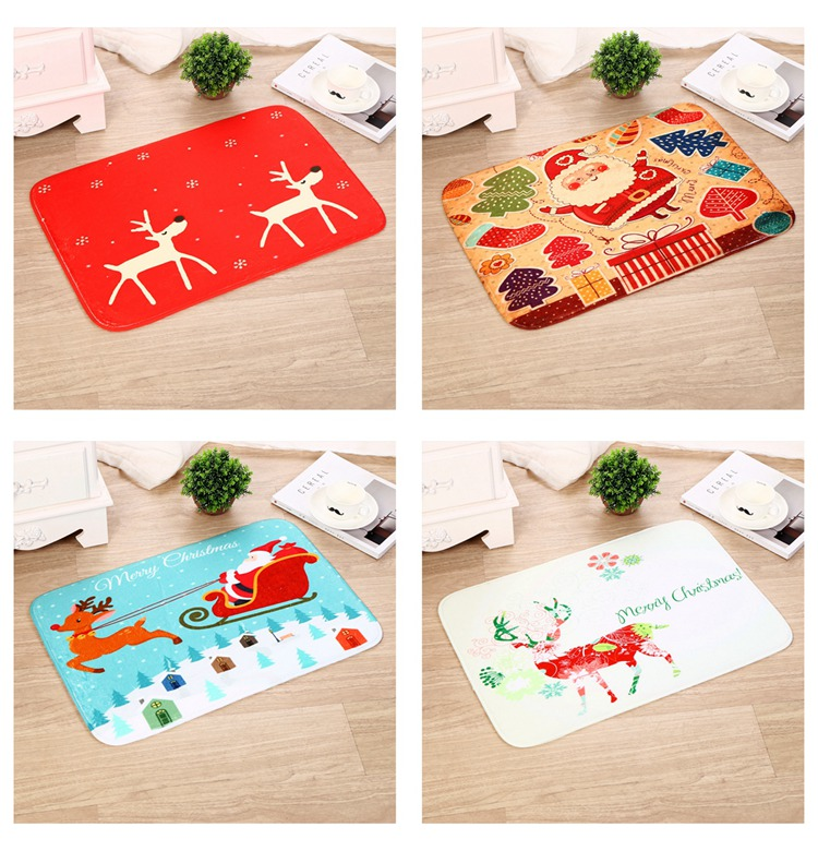FENGRISE Merry Christmas Door Mat Santa Claus Flannel Outdoor Carpet Christmas Decorations For Home Xmas Party Favors New Year 15