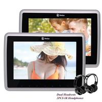 Pair Of Wireless Headphones Include 2 PCS 9 Inch Car Headrest Monitor SD CD DVD 1080P