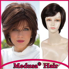 Medusa hair products: Sassy tousled bob style Synthetic wig for women Medium length straight Mix color wigs with bangs SW0008A