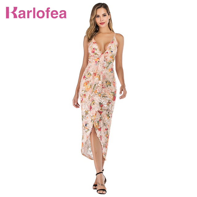 1c8094a590 Karlofea New Floral Mesh Sequin Vacation Dress Women Sexy Strap V Neck  Split Vestidos Summer Fashion Outwear Backless Maxi