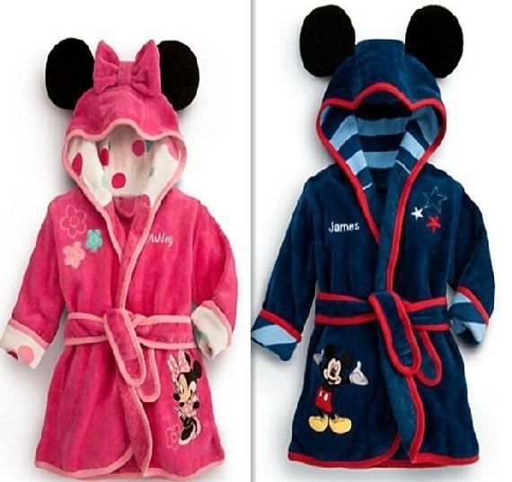 Free shipping childrens bathrobe Retail! Baby pc 1 boy / girl minnie and mickey soft velvet robe pajamas coral children dress b ...