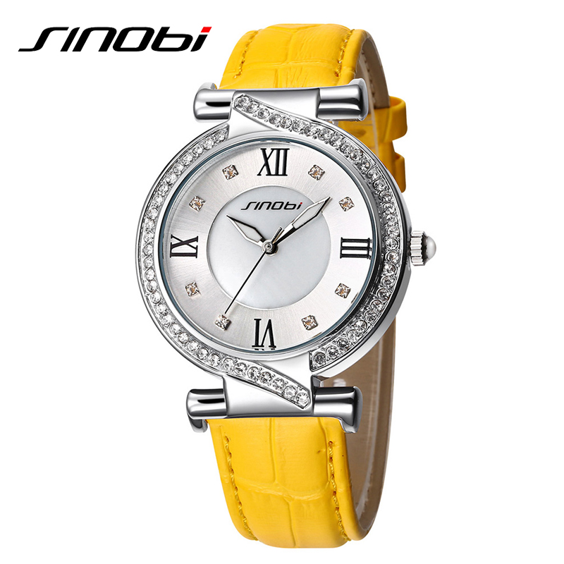 SINOBI Fashion Watch Women Rhinestone Yellow Leather Strap Female Clock Quartz Wristwatch Casual Lady Watches Relogio Feminino 2015 new watch women fashion casual dress watches elephant quartz wristwatch leather strap relogio clock lowest price n051