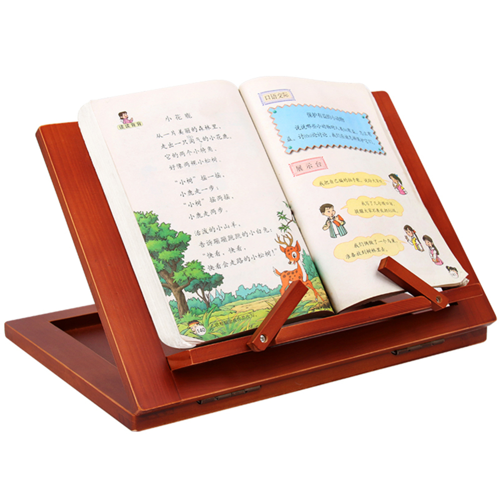 Multifunctional Foldable Wood Bookshelf Stand Cookbook Holder Reading Rack Wooden Reading Book Support Stand Holders Tablet PC image