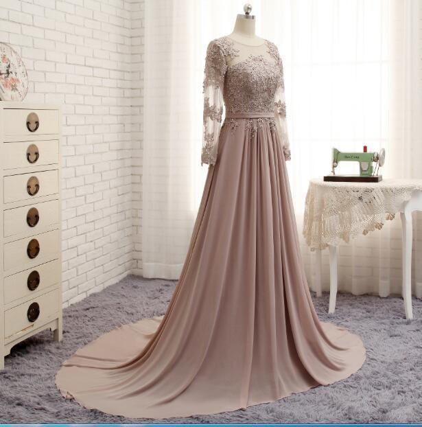 Long Sleeves Beaded Evening Dresses Party Elegant Gowns Champagne Chiffon A Line Vestidos De Festa Vestido Longo Robe De Soiree