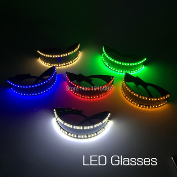 Free Shipping Holiday Lighting Flickering Led Light Semicircle Glasses Neon  Laser Fluorescent Eyeglasses for Fashion TV Show