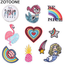 ZOTOONE Heart Mermaid Patches Diy Round Stickers Iron on Clothes Heat Transfer Applique Embroidered Applications Cloth Fabric G(China)