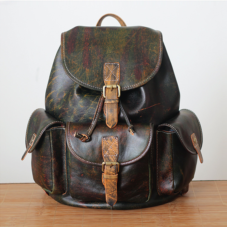 tourist backpack coloring page - 2017 Unisex Genuine leather school backpack vintage cow leather travel knapsack hand coloring high quality coffee cowhide pack