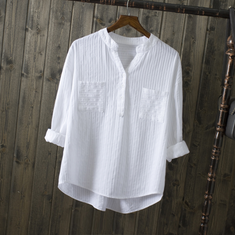 2019 New Spring Summer Causal White Women Shirts V-neck Loose 100% Cotton Office Lady Elegant Double Pocket Blouse Shirts Tops
