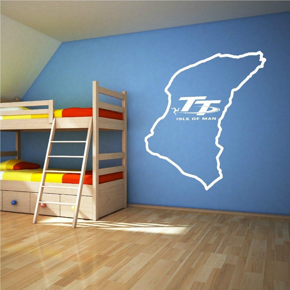 Isle Of Man TT Track Wall Sticker Bedroom Living Room Large Racing Moto Game Wall Decal Kids Room Vinyl Home Decor Art Mural