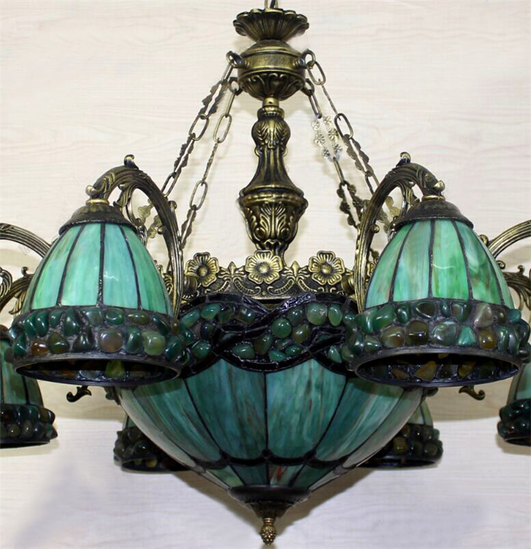 Fumat stained glass chandelier european style green glass light fumat stained glass chandelier european style green glass light dining room lamp living room light pendientes lustre chandeliers in chandeliers from lights aloadofball Gallery