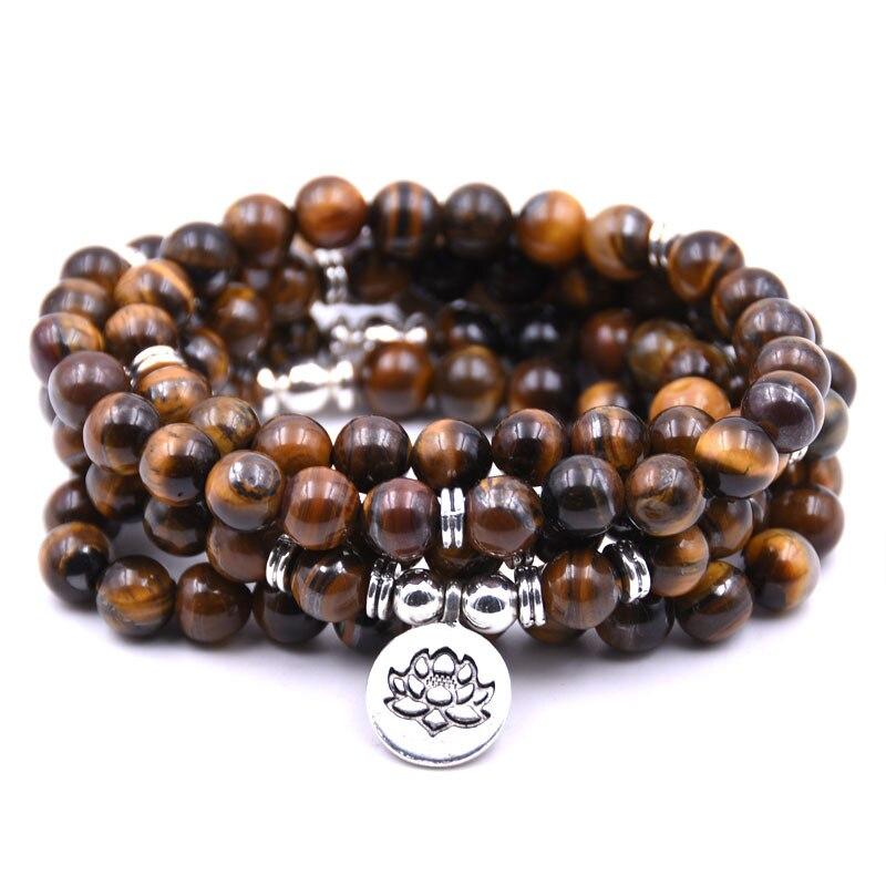 DIEZI Lotus Armbänder Ethnische Natürliche Stein Armband 108 Mala Yoga Halskette Tiger Augen Schmuck Heißer Verkauf 2018 Freies Verschiffen