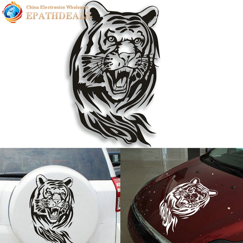 Auto Car Sticker Decals 60CM Large Creative Personality Tiger Reflective Car Hood Spare Decoration Stickers Car Styling car sticker for kia rio high quality waterproof sticker decals decoration protection sticker car styling auto accessories 2pcs