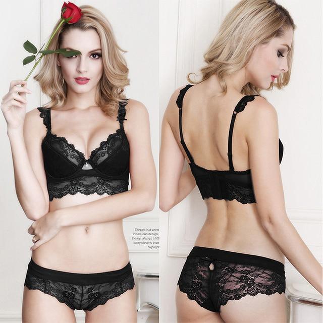363ccf893951 Brand Lace Bra Set Plunge Plus Size Sexy Lingerie Ultra-thin Bra Brief Sets  Panty Women Bras A B C D 32 34 36 38 40 42 Underwear