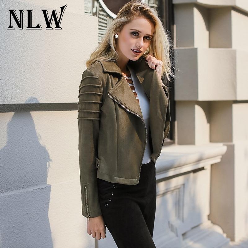 NLW Casual Suede Leather Women Jacket Ruffle Long Sleeve Short Coats 2019 Autumn Winter Female Fuax Coat Outerwear Crop Top