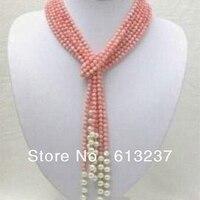 Moda rosa artificial coral encantos diy 4mm rodada beads colar espaçador branco pérola mulheres jóias fazendo 50 polegada MY4519