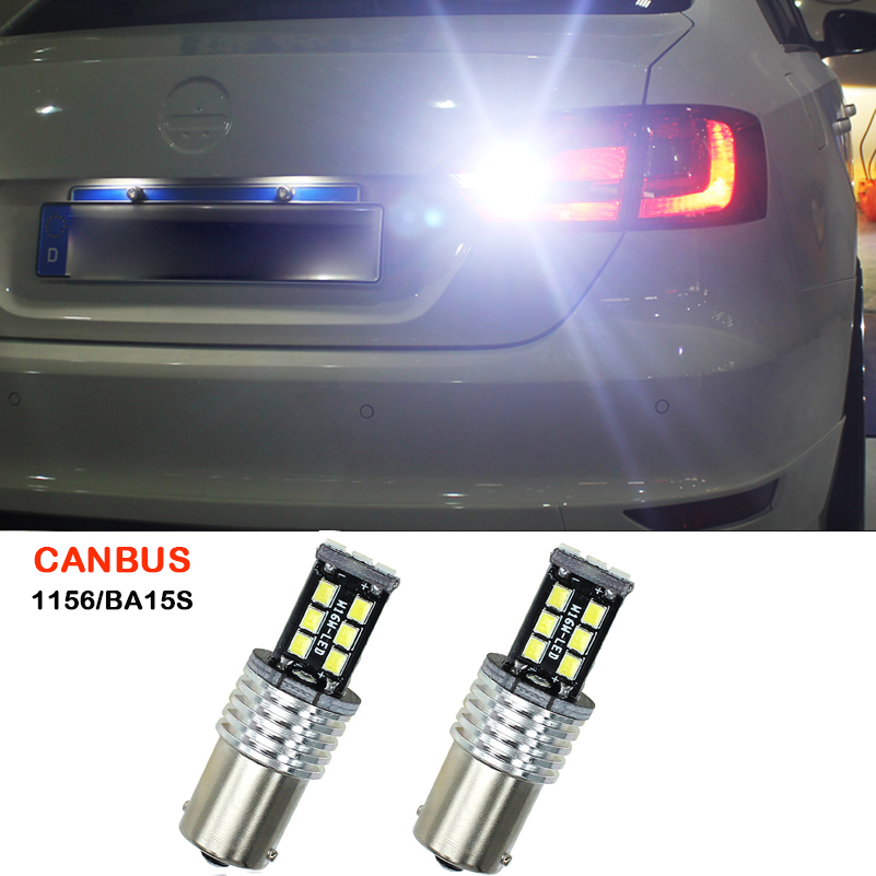 2x Canbus 1156 BA15S P21W 15 LED 2835 SMD White Brake Lights Reverse Lamp Car Tail Bulb For Saab 9-3 2002-2004 9-5 2002-2005 2002 5 153
