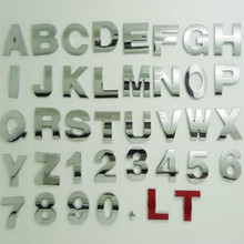 цена на silvery height 4.5CM Letter alphabet number digit car emblem Letters T U V W X Y Z 1 2 3 4 5 6 7 0 for modify decoration