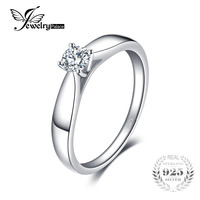 JewelryPalace Lovely 0 2ct Engagement Solitaire Ring Genuine 925 Sterling Silver Rhodium Plated Jewelry For Girl
