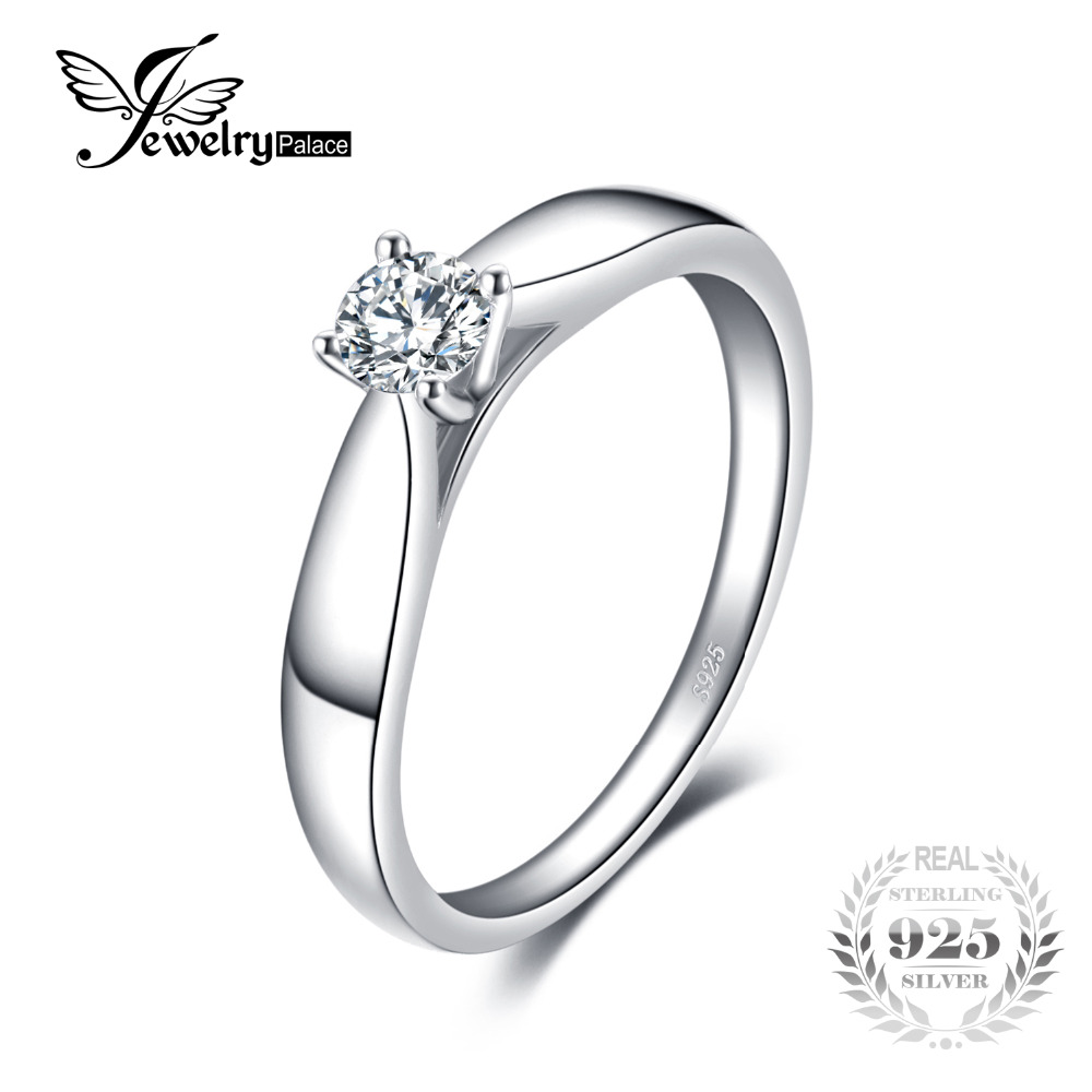 JewelryPalace Lovely Engagement Solitaire Ring 925 Sterling Silver Rhodium Plated Wedding Jewelry For Girl On Sale jewelrypalace classic wedding solitaire ring for women pure 925 sterling silver simple wedding jewelry fashion gift
