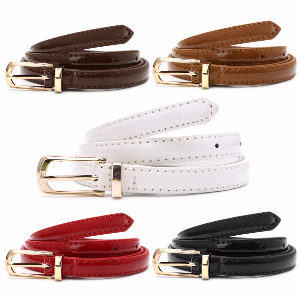 Lady Candy Color Thin   Belt   Alloy Buckle Faux Leather Waist Chain Strap Waistband
