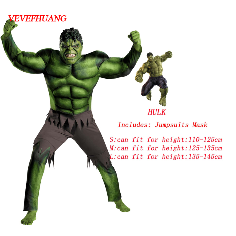 VEVEFHUANG Super Hulk Costume Kids Boys Incredible Children's Superheroes Avengers Hulk Halloween Muscle Green Cosplay Jumpsuits
