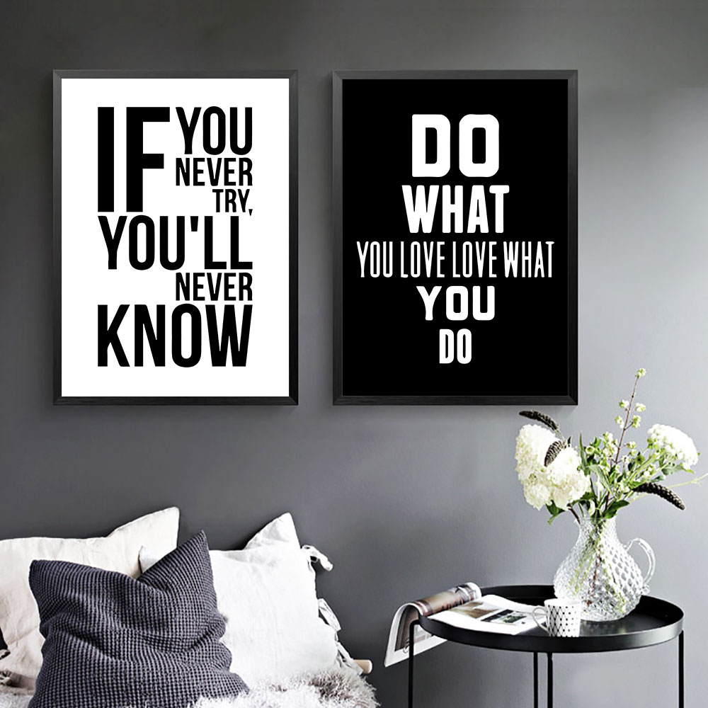 Quotes Posters And Prints Nordic Poster Black And White Quote Print Canvas Love Pictures Wall Decor For Living Room Unframed in Painting Calligraphy from Home Garden