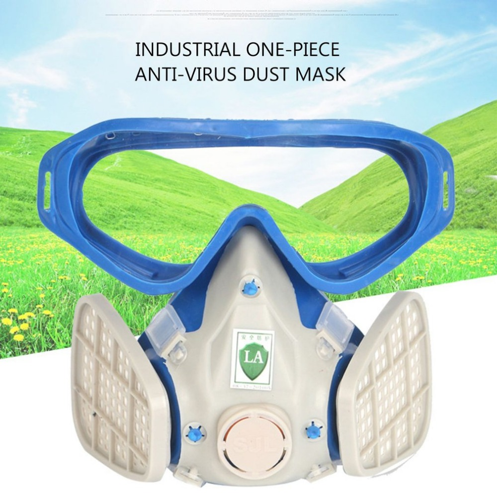 Full Face Respirator Gas Mask With Goggles Paint Chemical Dustproof Protective Mask Workplace Safety Supplies