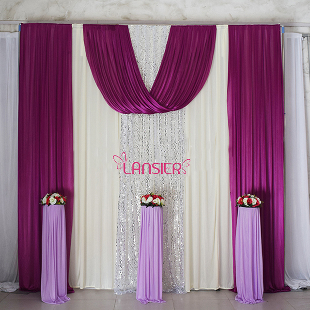 Elegant Wedding Backdrop Curtain With Swag Ds Decoration 10 Ft X Sequin Background