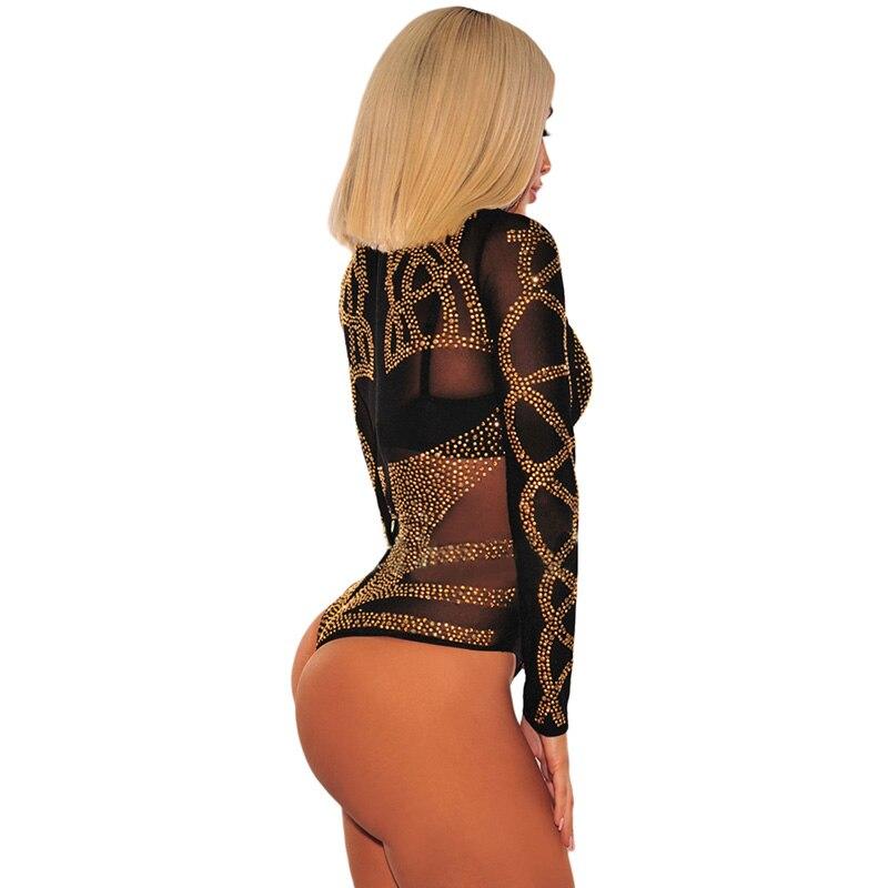 Black-Gold-Rhinestone-Faux-Bustier-Mesh-Long-Sleeves-Bodysuit-LC32210-2-2