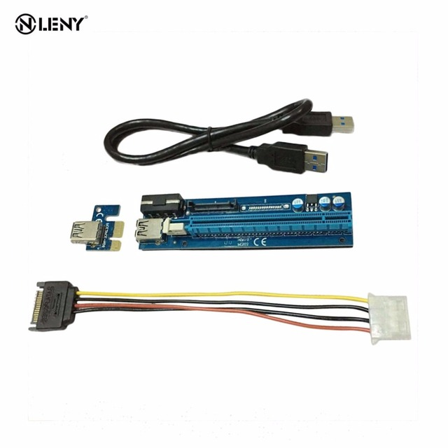 Mining Graphics Card PCI-E To PCIE Riser Card 1X To 16X Cable With 4 Pin To SATA Power Supply USB 3.0 With Power Cable