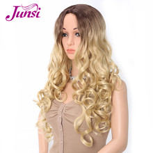 JUNSI Ombre Golden Wigs Long Wavy Middle Part Dark Brown Roo