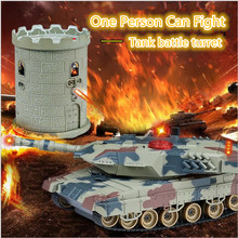 Kids gift RC battle Tank HQ-550 Infrared RC Mini Turret Battle Fight Tank With The Fort Remote Control electric tank model Toys