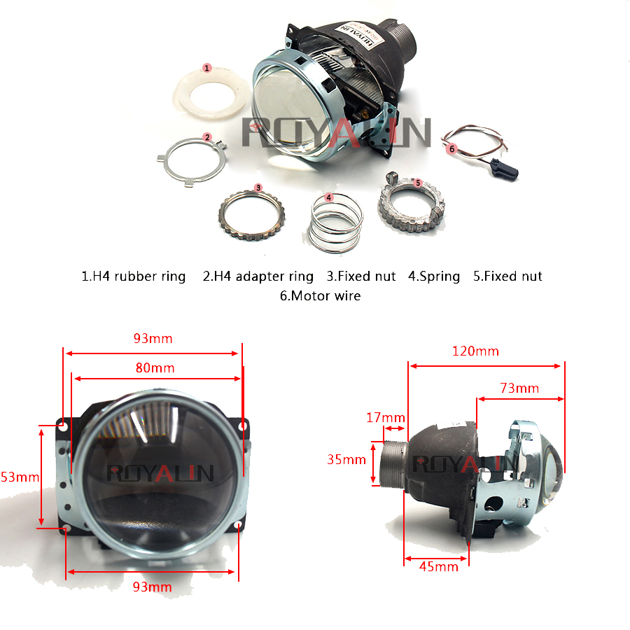 ROYALIN Car Styling Mini D2S 3 0 Bi Xenon Projector Lens For H4 Auto External Lights Use D2S H Lamp For Iris GTI R Smax Shrouds in Car Light Accessories from Automobiles Motorcycles
