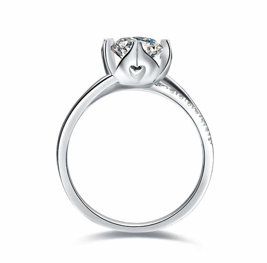 Deary 0.3Ct ดอกไม้เพชรหมั้นเจ้าสาวข้อเสนอแหวนผู้หญิงแหวนเงินแท้ 925 สำหรับ Office Lady