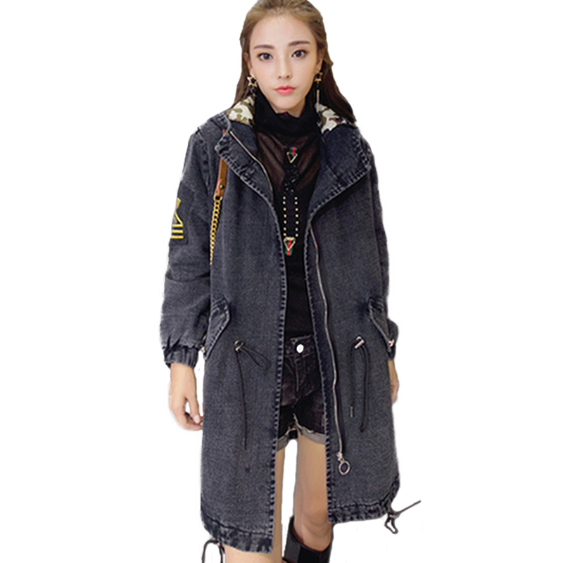 New Winter Denim jacket Women Cotton Jackets Thicken Warm coat Fur collar Hooded Casual tops Fashion