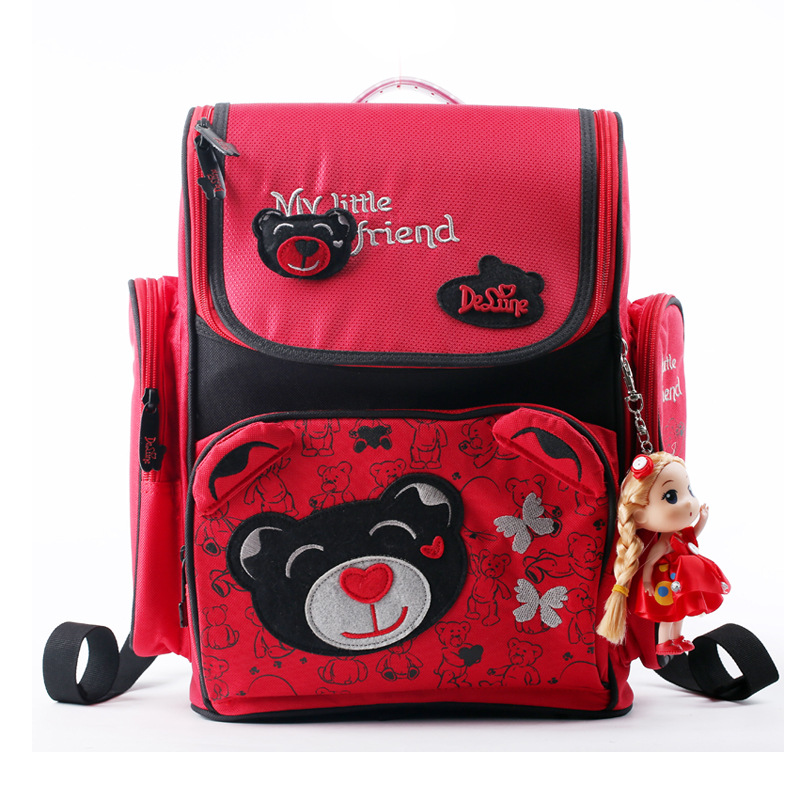 Delune Brand Kids Cartoon School Bags Children Orthopedic Backpacks For Girls Boys SchoolBag For 1-3 Grade Studets Mochila 2016 new kids cartoon ice queen schoolbag girls boys printed princess backpacks children s zipper notebook bag