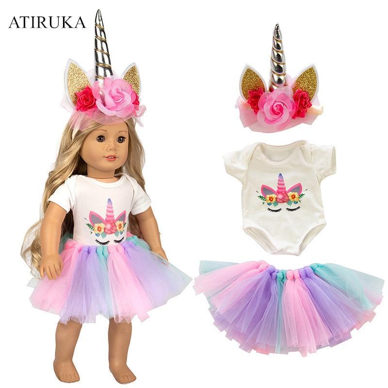 2019 New Cartoon Unicorn Rainbow Skirt Fit 18 inch 43cm  Doll Birthday Princess Dress Doll Clothes Accessories2019 New Cartoon Unicorn Rainbow Skirt Fit 18 inch 43cm  Doll Birthday Princess Dress Doll Clothes Accessories