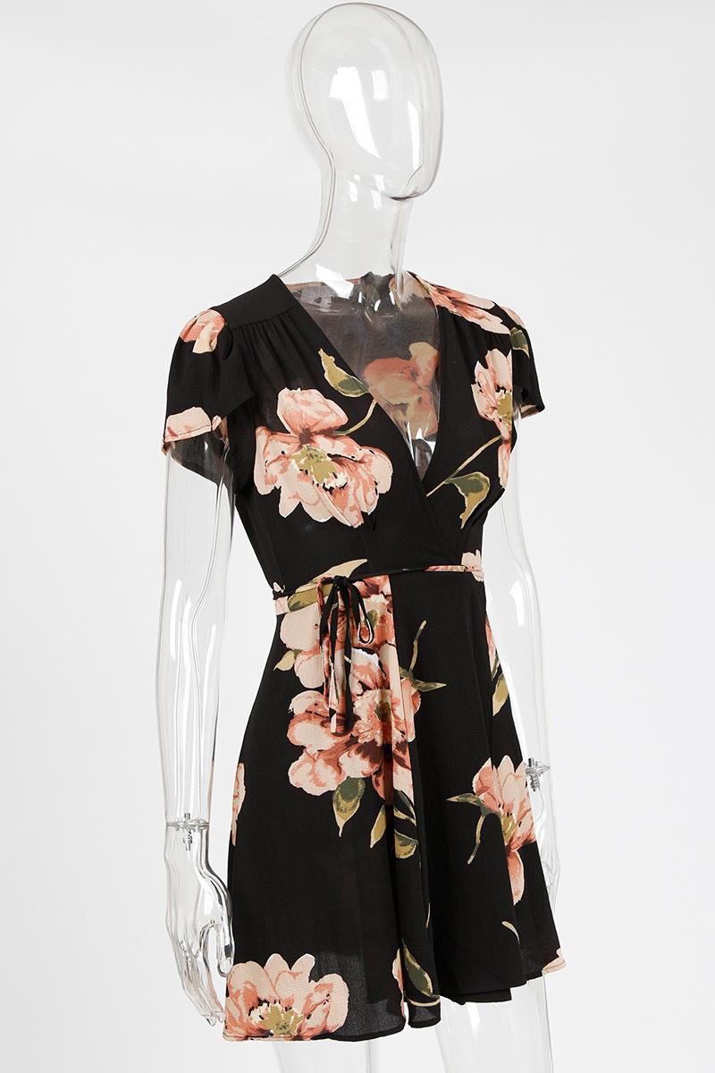 BONGOR LUSS Summer Dress Women Sexy Deep V-Neck Short Sleeve Chiffon Mini Dress Cap Sleeve Floral Print Beach Dresses Sundress (21)