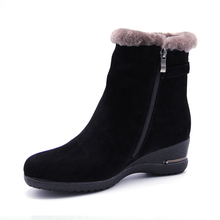 2018 Winter New Warm Wool Fur Ankle Boots Genuine Wool Full Grain Leather Long Plush Snow Boots Women High Quality Wedges Shoes