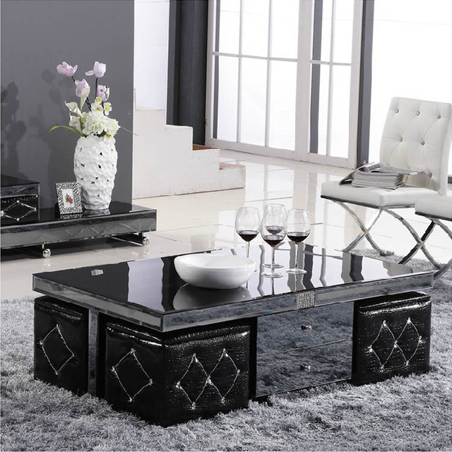 Mirror Gl Coffee Table Storage Tea With Stool Four Drawers Teasideend