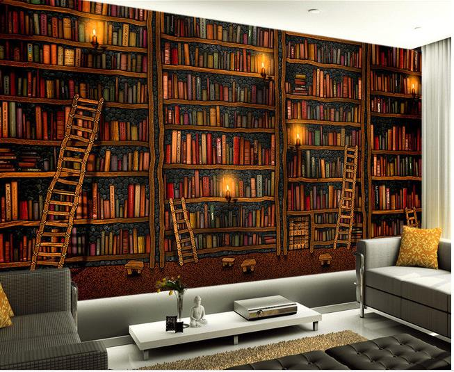Custom Photo Wallpaper Large Sofa Tv Background Mural Wall Bookcase Books Bookshelf 20179443 In Wallpapers From Home